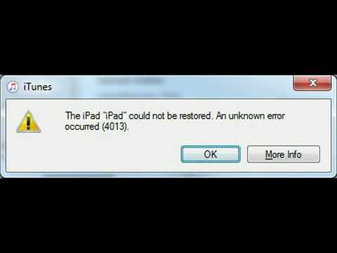 iPad Error 4013 iPad could not be restored. An unknown error occurred (4013)