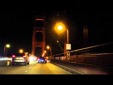 A drive over the Golden Gate Bridge at night