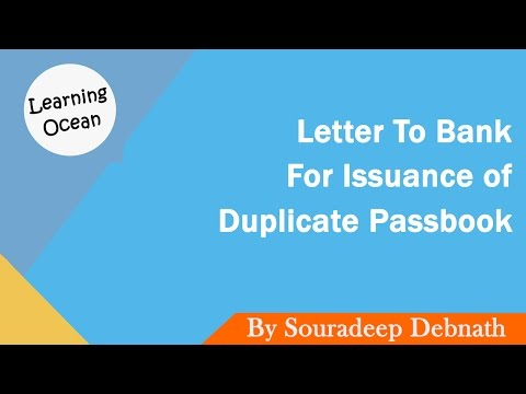 Learning Ocean | Letters To Bank - How to write a letter to bank for Issuance of Duplicate Passbook