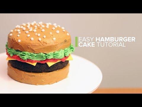 Easy Hamburger Cake Tutorial