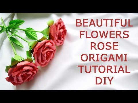Beautiful Flowers Rose Bouquet Origami Paper Tutorial DIY Instruction