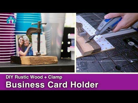DIY Rustic Clamp + Wood Business Card Holder