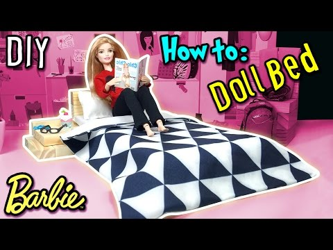 How to Make Barbie Doll Bed - Holiday Craft - DIY Dollhouse Tutorial - Making Kids Toys