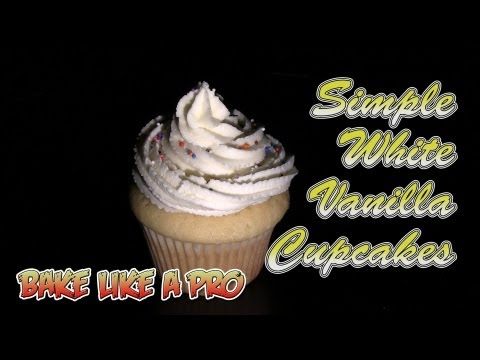 Simple White Vanilla Cupcakes with Wilton Buttercream Icing