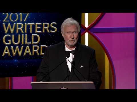 M*A*S*H writer Dan Wilcox accepts the WGAW's 2017 Morgan Cox Award for Guild service