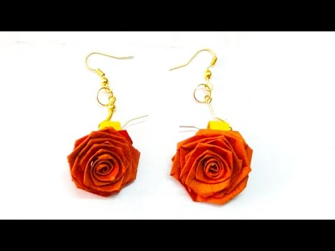paper quilling rose earrings