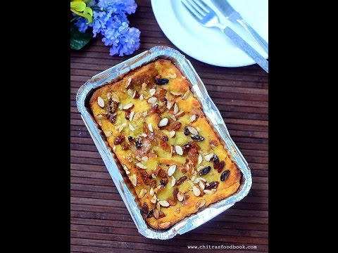 Eggless Bread Pudding Recipe - Bread pudding without eggs