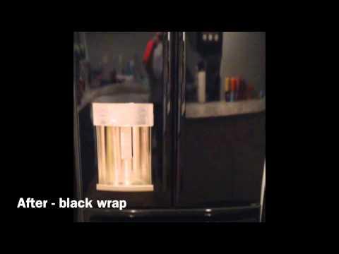 Refrigerator wrap Black gloss vinyl