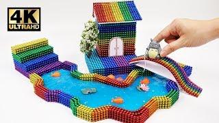 DIY - Cara Membuat Rumah Pelangi, Totoro Duduk di Tepi Sungai dengan Bola Magnetik, Slime