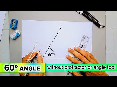 draw 60 degree angle without protractor or angle tool with compass