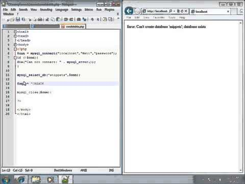 PHP Lesson 34   Creating Tables in MySQL using PHP