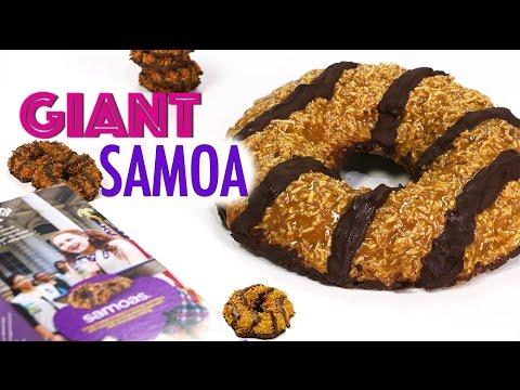 GIANT SAMOA COOKIE   Girl Scout Cookies - Chocolate Caramel Shortbread SAMOAS