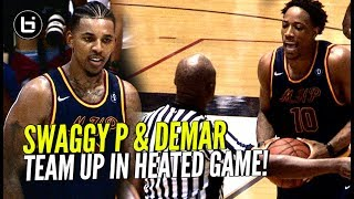 demar derozan nick young team up demar throws ball at ref in heated drew league game