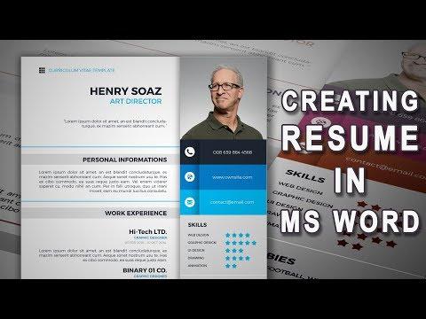Creating an CV  (Fast forward video)