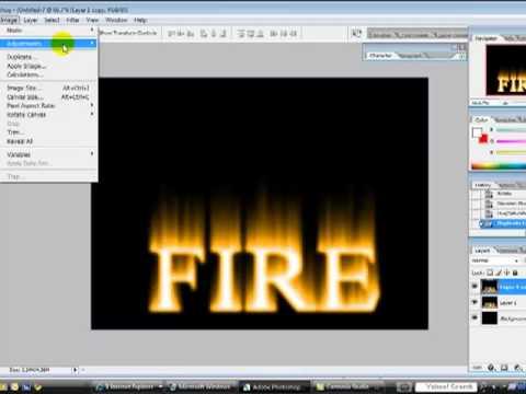 fire text on photoshop cs2