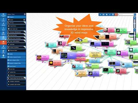 Organize your ideas and knowledge in impressive 3D mind maps