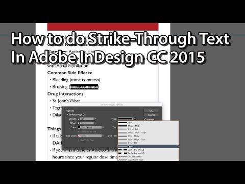 Strike Through Text - Line Through Text - Adobe InDesign CC 2015