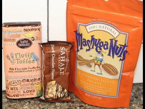 Seattle Chocolates Fluffy Toffee, Sahale Dark Chocolate Peanut, Mashuga Nuts Cinnamon Pecans