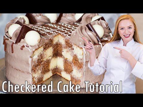 Triple Chocolate Checkered Cake - How To Make A Checkered Cake