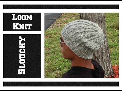 LOOM KNIT Hat Slouchy Cable Hat - Men or Women on Round Loom - EASY- Begining to End | Loomahat