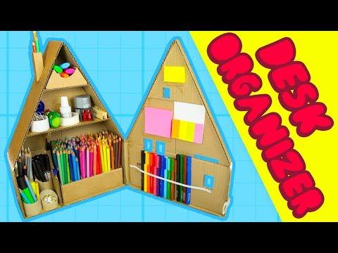 DIY Desk Organiser #2 - Inside The Cardboard House | Craft Ideas for Kids on BoxYourself