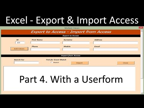 Excel Userform - Import and Export from Access Database