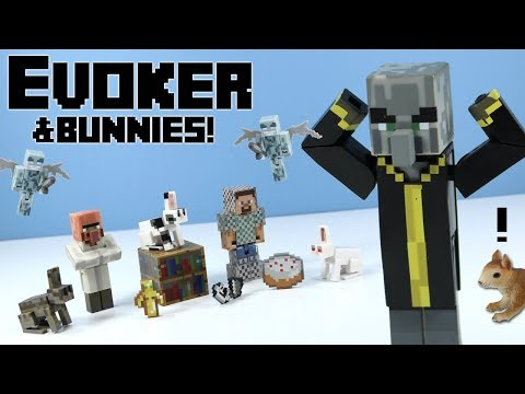 Minecraft Jazwares Series 4 Evoker & Bunnies & Steve with Chain Armor