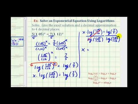 Ex:  Solve an Exponential Equation with Logarithms - Variable on Both Sides