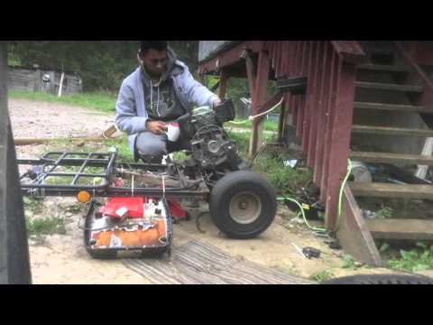 Go kart with lawnmower engine.