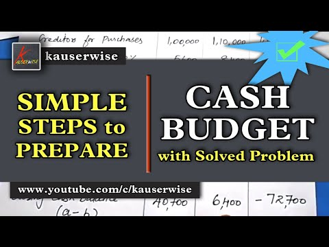Cash Budget (with solved problem) in management accounting tutorial :-by kauserwise