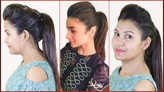 #1trick High Ponytail With Puff Hairstyle & Everyday Heatless Hairstyles