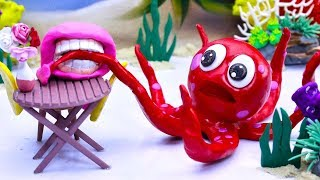 CLAY MIXER: OCTOPUS CAPTURING 💖 Play Doh Cartoons For Kids