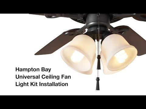How to Install the Hampton Bay 4-light Universal Ceiling Fan Light Kit