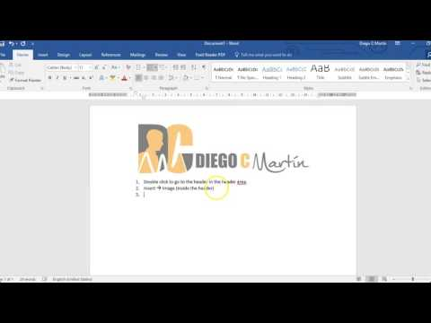Adding logo image to header on MS Word 2016 (no sound)