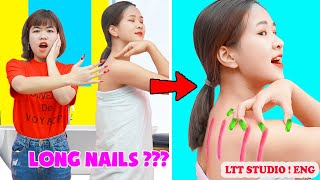 LONG AND SHORT NAIL PROBLEMS AND FUNNY SITUATIONS || Funniest Moments