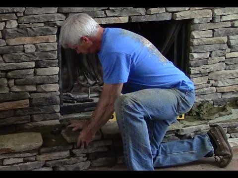 Installation of Hearth on Stone Fireplace  (3/3)