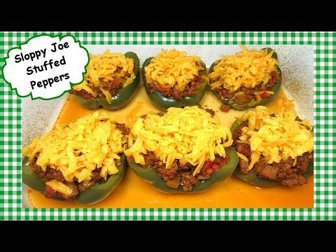 Sloppy Joe Stuffed Peppers Recipe ~ Homemade Low Carb Sloppy Joes