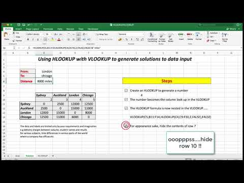 ADVANCED EXCEL - using the VLOOKUP_HLOOKUP combination with HLOOKUP nested.