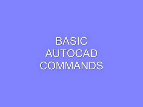 Basic Autocad Commands all versions