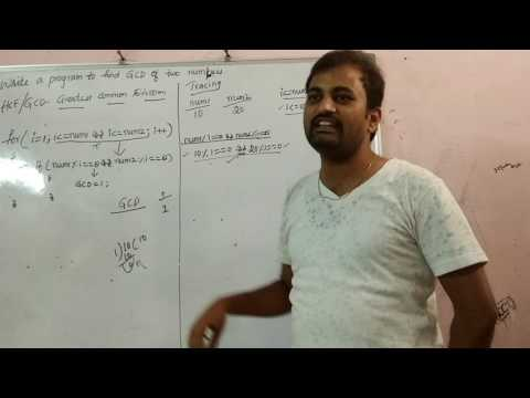 Program to find GCD/HCF of two numbers in C code by Sathish kumar