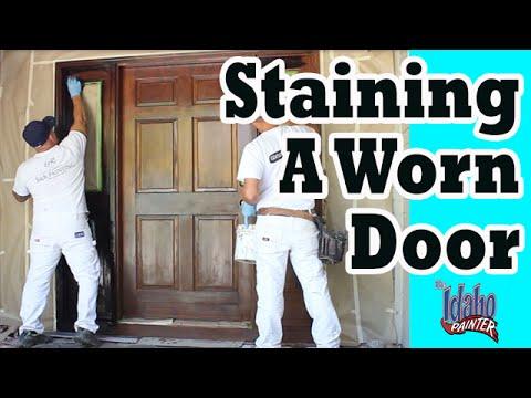 STAINING A DOOR.  How to refinish a door. Door glazing tips.