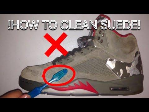 HOW TO CLEAN SUEDE JORDANS / SHOES (Jordan 5 Camo Restoration)