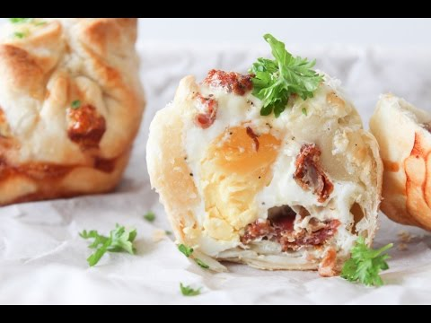 How To Make Egg And Bacon Puff Pastry Pockets - By One Kitchen Episode 514