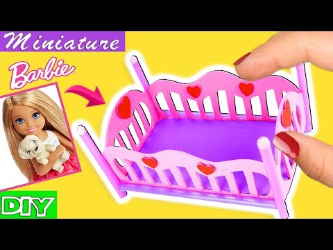 How to make a Barbie Baby Crib / Bed - Toddler Bed - DIY SUPER EASY miniature crafts