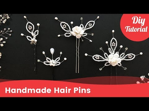 Four Handmade Easy Hair Pins for Hairstyles. Hair Accessory Ideas.