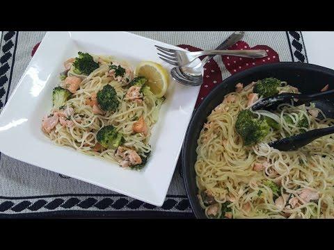 Creamy salmon broccoli pasta معكرونة بالكريمة وسمك السلمون والبروكولي