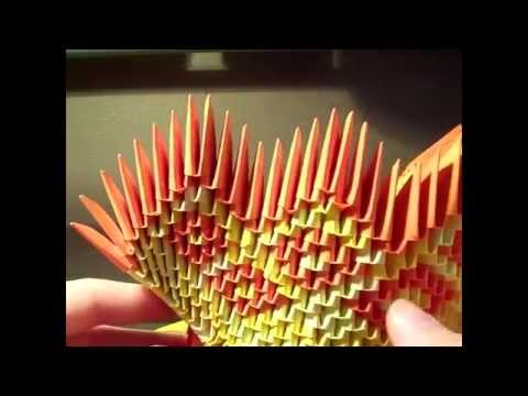 how to make a 3d origami diamond pattern peacock