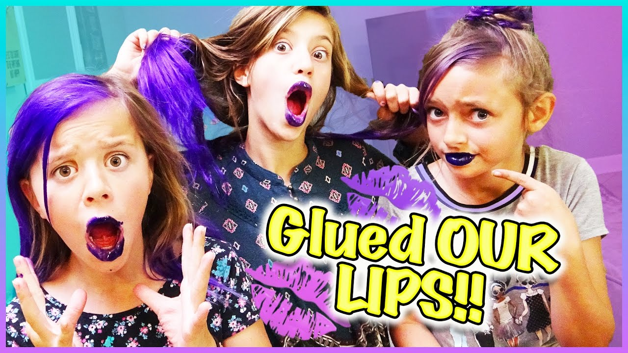 🦄  ULTIMATE SLEEPOVER PARTY!! 🦄  PURPLE GLUED LIPS and UNICORN HAIR!