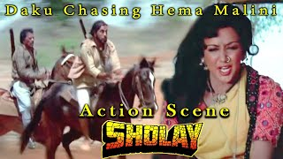 Daku Chasing Hema Malini | Action Scene | Sholay Hindi Movie