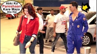 Twinkle Khanna RUNS Away From Media While Hubby Akshay Kumar Takes Photo At Airport- FUNNY Video